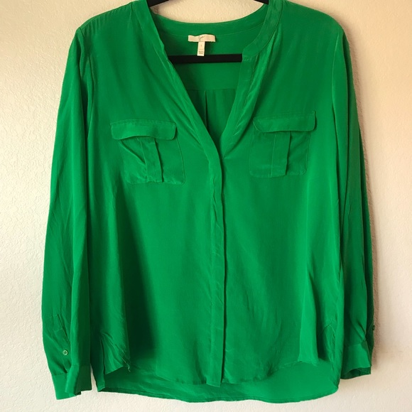 759b59a1cbd6d Joie Marlo silk blouse top Size Large Green